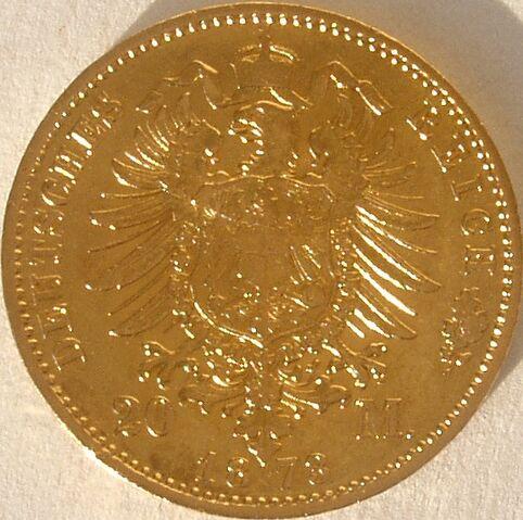 File:20 M Gold Kaiser Wilhelm I. von Preussen 1873 70.jpg