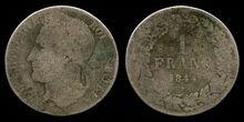 Belgium franc coin 1844