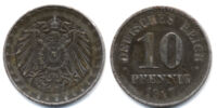 German 10 pfennig coin (1873-1922)