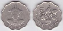 Swaziland 5 cents 1992