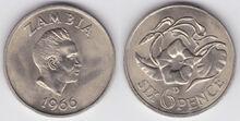 Zambia 6 pence 1966
