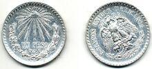 1 peso de México de 1924 (anverso y reverso)