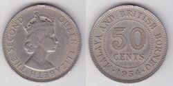 Malaya Borneo 50 cent coin 1954