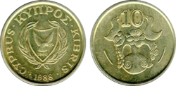 Cyprus 10 cents 1988