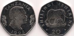 Tanzania 20 shillings 1992