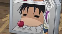 Ogino poking from the fridge
