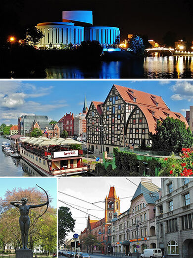 Collage of views of Bydgoszcz, Poland