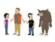 Early versions of Dan, Chris, Elise and Wolf-Man
