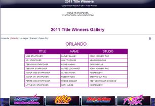 Results Orlando Starpower 2011 Love on the Dance Floor Title Winners