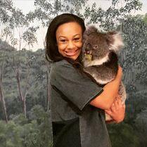 Nia in Australia with koala