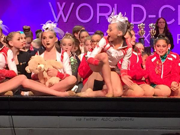 File:Maddie reaction to group taking 1st - Kendall with bear Abby gave her - Twitter ALDC updates4u b.jpg