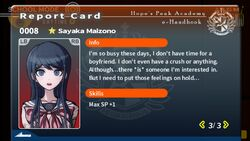 Sayaka Maizono Report Card Page 3