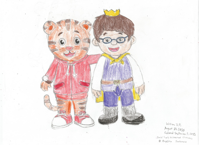 File:Daniel Tiger and Prince Wednesday Drawing Colored.png
