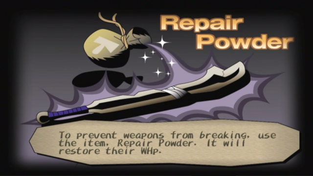 File:Repair powder info screen from Dark Cloud.png