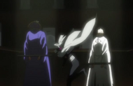 Yoruichi arrives to save Urahara and Tessai