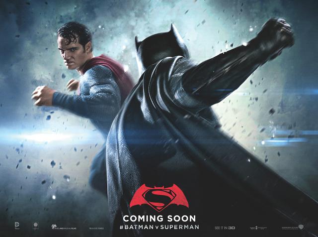 File:Batman v Superman Dawn of Justice quad poster - Superman facing Batman.png