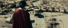 Superman surrenders to the army
