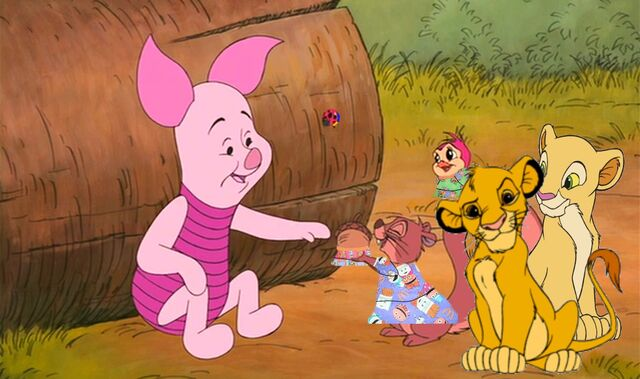 File:Piglet LudyBug Squirrel Bird Simba Nala Disney Crossovers.jpg