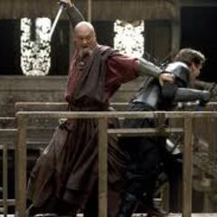 Ra's Al Ghul (decoy) attacking Bruce Wayne.