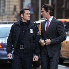 Joseph Gordon-Levitt on set with Christian Bale.