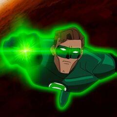 Hal Jordan flying outside a planet in <i><a href=