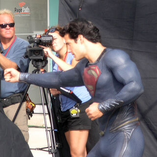 Henry Cavill on set as Superman between shooting.