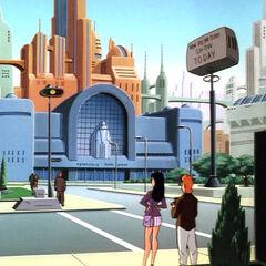 Metropolis when Supergirl arrives.