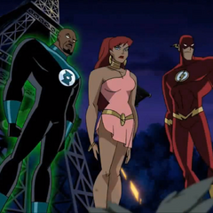 Giganta united with Green Lantern and The Flash.