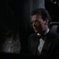 Bruce in the Batcave.