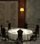 Black Classic Dining Chair and Tarnished Dining Table (Wayne Manor Gala)