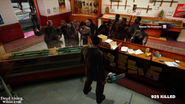Dead rising rippers taking photos of zombies behind counter