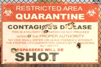 Dead rising 2 Case 0 quarantine zone restricted area sign