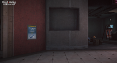 Dead rising Zombrex poster next to Maintenance Room 27 south plaza