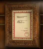 Dead rising director's office diplomas and photos around director's bust (4)