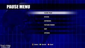 Dead rising pause menu
