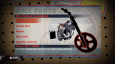 Dead rising 2 Case 0 bike parts screen