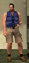 Dead rising clothing Blue Vest with Tan Shorts