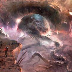 Концепт-арт погибшей Луны.
