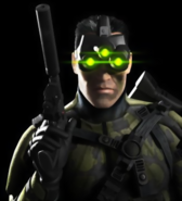 Splinter Cell - Sam Fisher holding his pistol and wearing his Multi-Vision Goggles