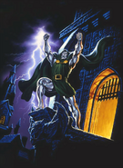 Marvel Comics - Dr Doom raising his arms as lightning strikes