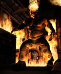 Twisted Metal - Sweet Tooth in a place that is set on fire in the unreleased Habor City game