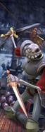 MediEvil - Sir Daniel Fortesque fighting undead pirates