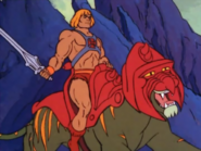 Masters of The Universe - He-Man riding Cringer as seen in the 1980s cartoon