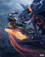 Halo - Master Chief fighting a Promethean Knight