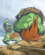 Street Fighter - Blanka doing a Beast Roll as seen in the Street Fighter Comics