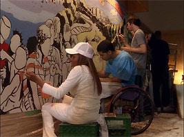 File:The mural being painted.jpg