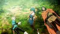 Jasmine stealing Lief's cloak (anime)