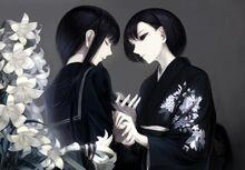 Konachan.com - 166682 2girls black eyes black hair erise flowers japanese clothes kimono long hair original seifuku shoujo ai