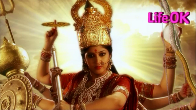 File:Goddess Durga Armed With Weapons on Her Ten Arms.png