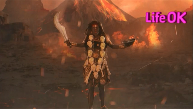 File:Goddess Kali Standing in The Battlefield, Armed With Scimitar and Drinking Bowl.png